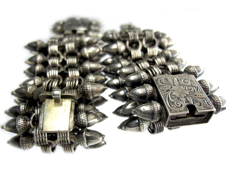 Pair of Silver Victorian Acorn Design Bracelets