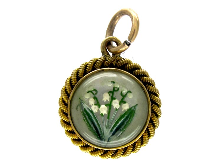 Carved Reverse Intaglio Crystal Charm of Lilly of The Valley