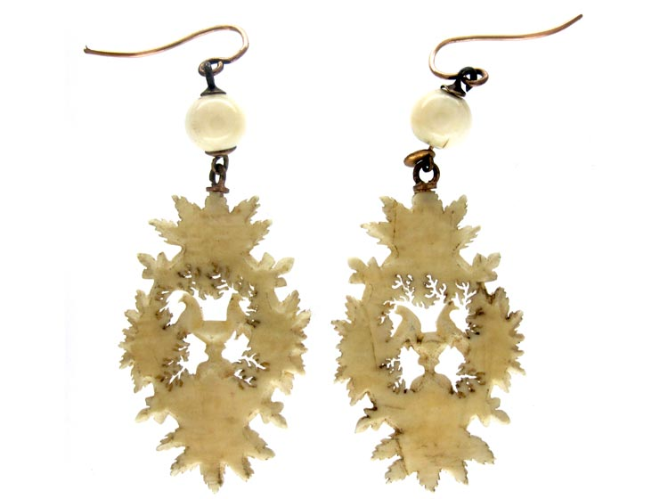 Carved Ivory Doves of Pliny Earrings