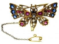 Gem Set Butterfly Brooch