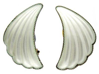 White Enamel Silver Gilt Earrings