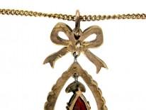 Bohemian Garnet Bow Drop Pendant on Gold Chain