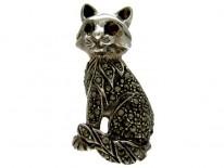 Silver & Marcasite Cat Brooch
