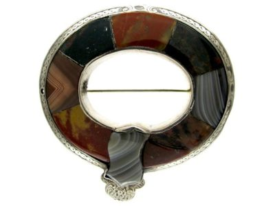 Scottish Agate & Silver Garter Brooch