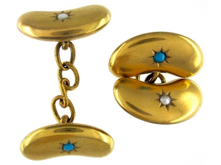 Kidney Bean 15ct Gold Cufflinks