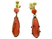 Coral & Caged Gold Drop Earrings