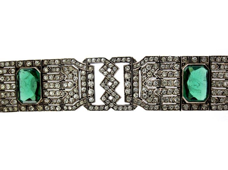 Art Deco Lazarus Paste Silver Bracelet