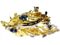 Sapphire Diamond 1950s 18ct Brooch