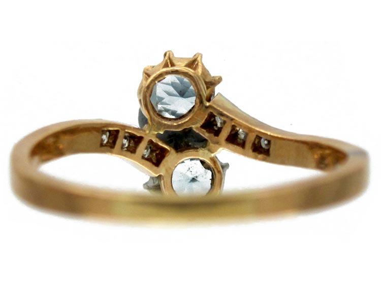Aquamarine, Diamond Twist Ring