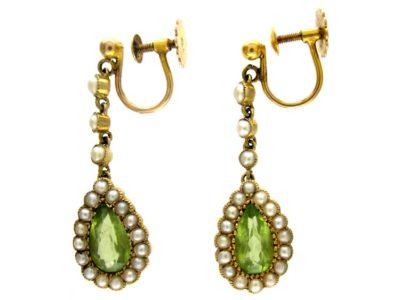 Peridot & Pearl 15ct Drop Earrings