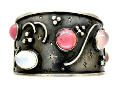 1960s Quartz & Rhodonite Cabochon Silver Cuff Bangle