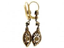 Diamond & Pearl Drop Earrings