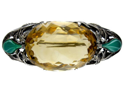 Arts & Crafts Silver, Citrine & Chalcedony Brooch by Bernard Instone