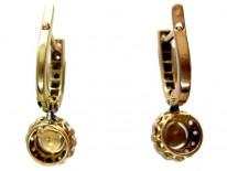 Natural Pearl Rose Diamond Drop Earrings