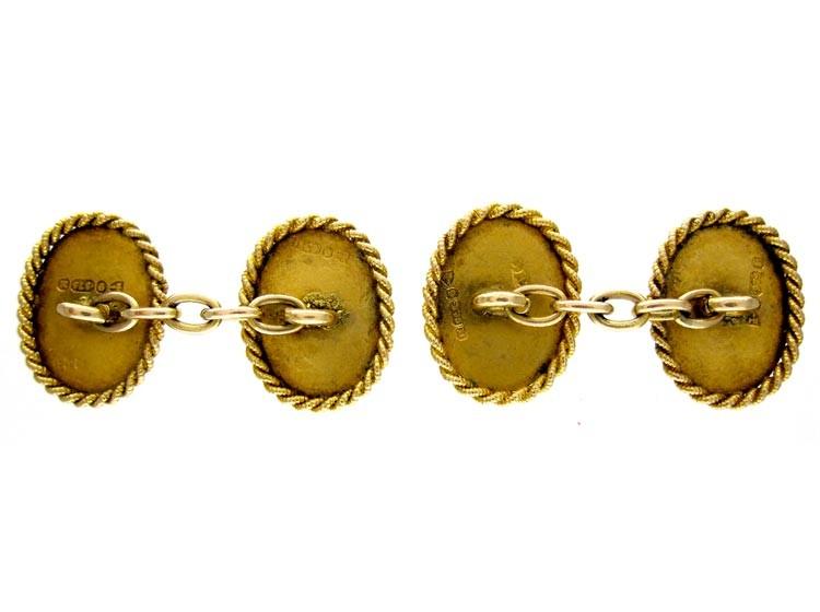 Victorian 9ct Gold Rope Edge Cufflinks