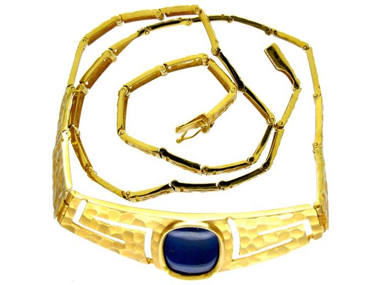 Lapis & 18ct Gold 1960s Gold Collar