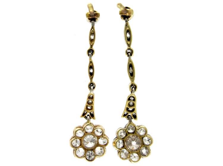 Diamond Drop Cluster Earrings