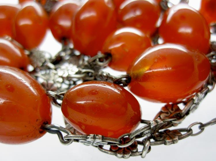 Carnelian & Silver Arts & Crafts Chain