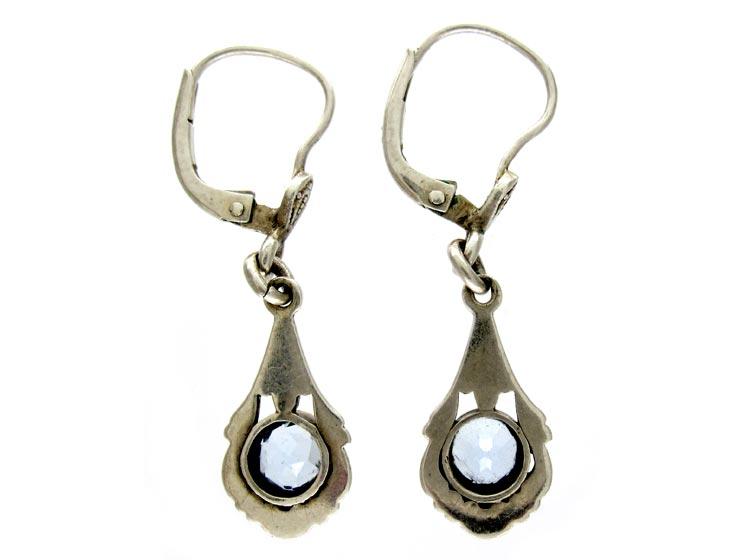 Silver & Blue Paste Drop Earrings