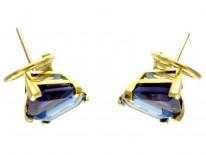 Blue Topaz & Amethyst Earrings