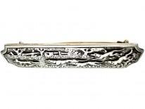 Silver Victorian Hunting Brooch