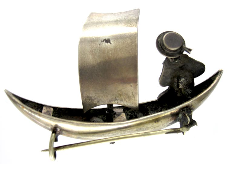 Silver Novelty Brooch of Sailor in His Boat