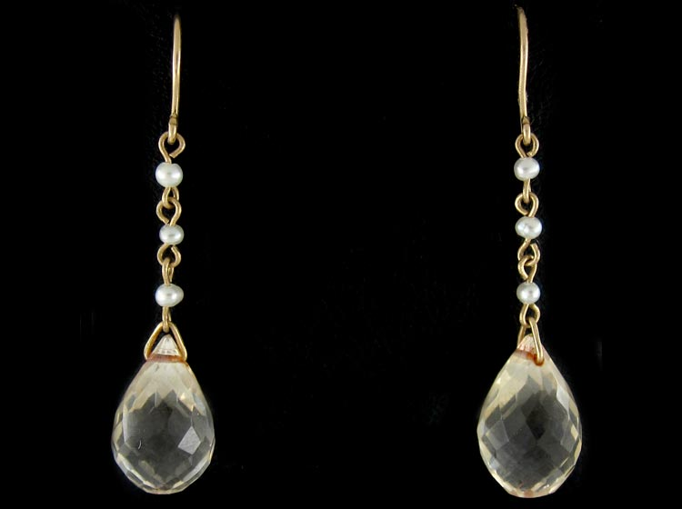 Edwardian Natural Pearl & Citrine Earrings
