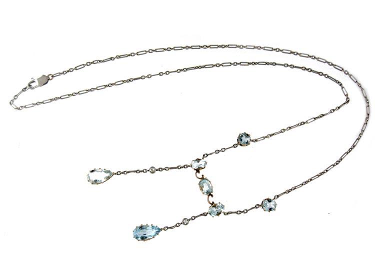 Edwardian Aquamarine & Platinum Necklace