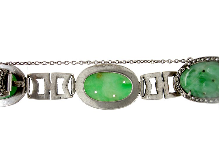 Art Deco Jade, Silver & Marcasite Bracelet