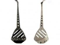 Art Deco Silver & Enamel Drop Earrings