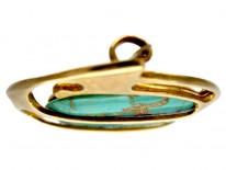 Murrle Bennett Art Nouveau Turquoise & 15ct Gold Brooch