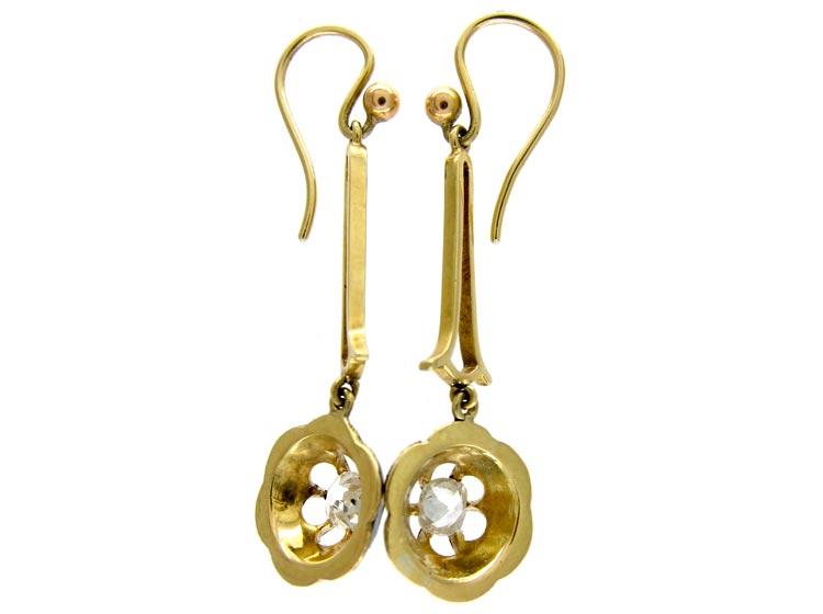 Black Enamel & Diamond Drop Earrings