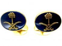 Asprey 18ct Gold Lapis Cufflinks