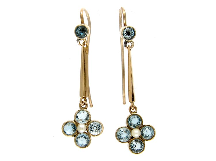 Aquamarine & Pearl 9ct Gold Drop Earrings