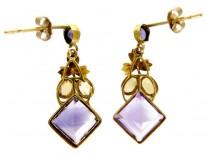 Amethyst & Citrine Gold Drop Earrings