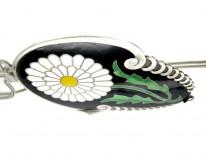 Danish Art Deco Silver & Enamel Large Flower Pendant on Silver Chain