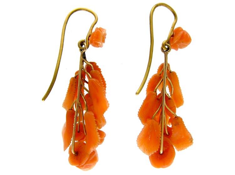 Carved Coral Drop Earrings