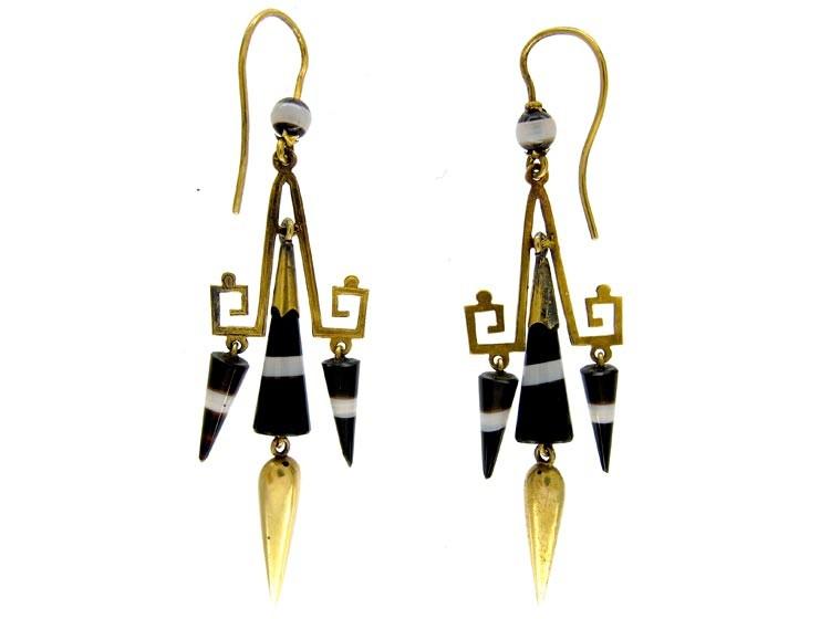 Banded Sardonyx 15ct Gold Drop Earrings