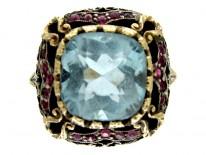Aquamarine & Ruby Ring