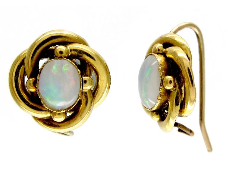 Opal 18ct Gold Coil Earrings