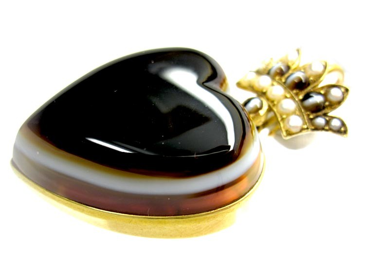 Victorian Banded Agate Heart Pendant