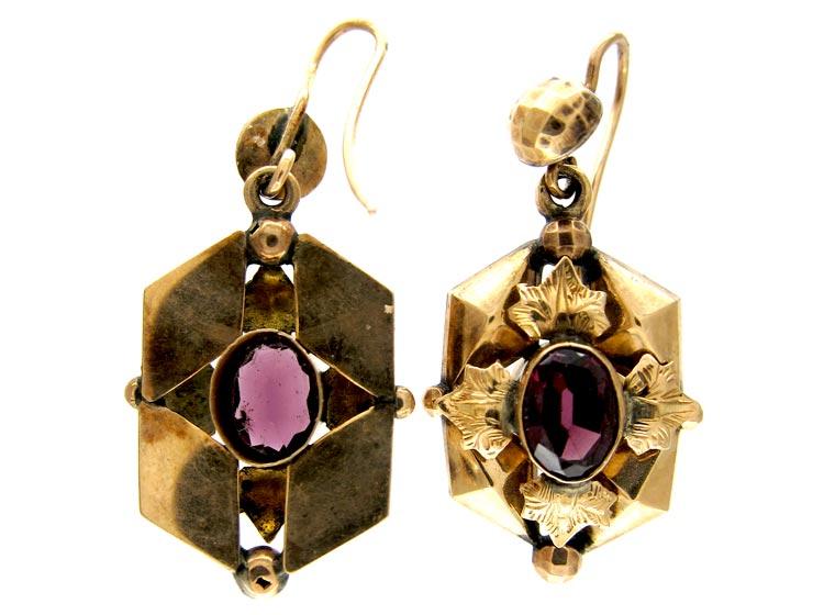 Garnet 15ct Gold Victorian Earrings