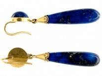 French 18ct Gold Lapis Drop Earrings