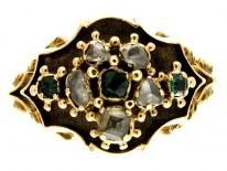 Georgian Emerald Diamond 15ct Gold Ring