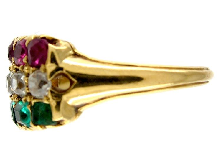 18ct Gold Ruby, Diamond & Emerald Victorian Ring