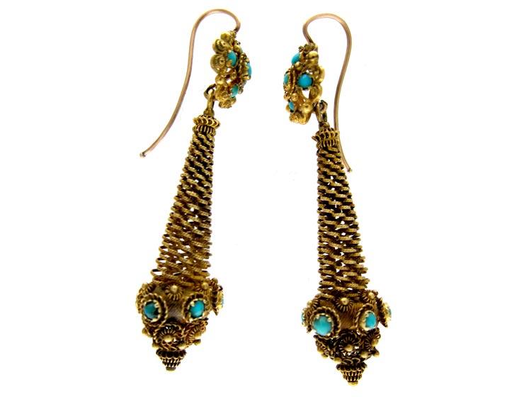 Regency 18ct Gold & Turquoise Drop Earrings