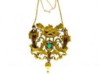 Emerald Diamond 18ct Gold French Pendant