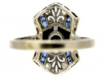 Art Deco Onyx, Sapphire & Diamond Ring