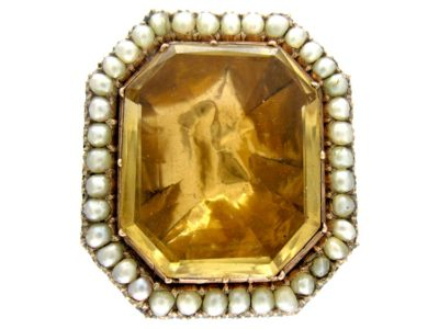 15ct Gold, Citrine & Natural Pearl Brooch
