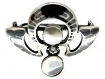 Silver Niello Art Nouveau Brooch